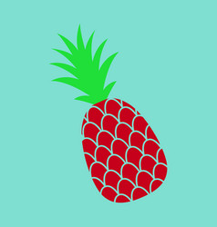 Pineapple exotic tropical fruit sketch pop art vector