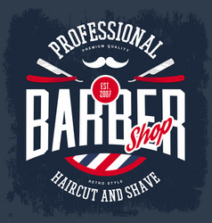 Razor and mustache on barbershop logo or sign vector