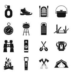 Recreation tourism icons set simple style vector