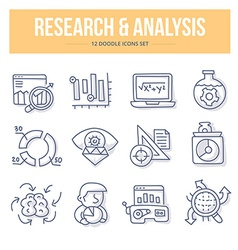 Research Analysis Doodle Icons vector