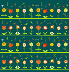 Rows of flowers and stylized dragonflies vector