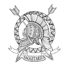sagittarius zodiac sign coloring book vector image