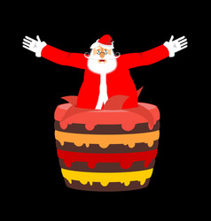 santa claus from cake christmas congratulations vector image