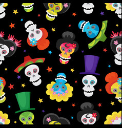 Seamless pattern with colorful skulls and stars vector