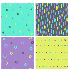 set bright paint drops seamless patterns vector image