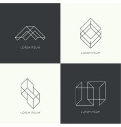 Set hipster logo vector