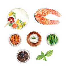 Set isolated watercolor rice pepper fish vector