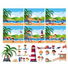 set summer beach vector image