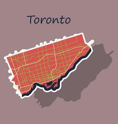 Sticker color map of toronto canada city plan of vector