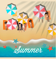 Summer background with girls tanning in the sun vector
