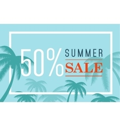 summer sale banner Palm silhouette and vector image