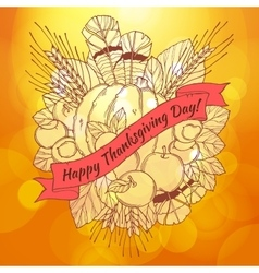 Thanksgiving Day greeting card with handdrawn vector