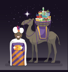 Three kings day with king balthazar camel and vector