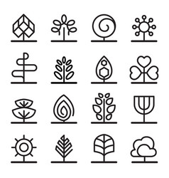 tree icons in minimal style vector image