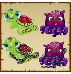 Two characters turtle and octopus vector image