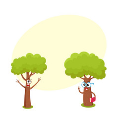 two funny tree characters in glasses holding book vector image
