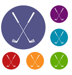 two golf clubs icons set vector image