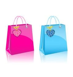 two Valentines day rore paper shopping bag vector image