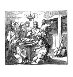vintage drawing biblical story passover vector image