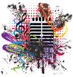 vintage microphone grunge vector image