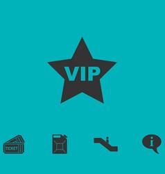 Vip star icon flat vector