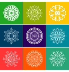 White Floral Mandala Set over Color vector image