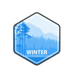 winter time blue emblem vector image