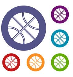 basketball ball icons set vector image
