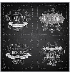 christmas handdrawn emblems chalkboard vector image
