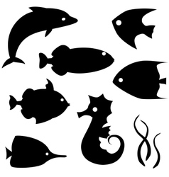 Fish silhouettes set 2 vector image vector image