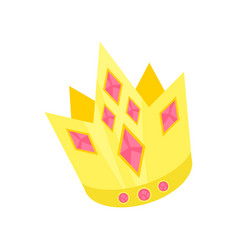 golden princess crown with pink rubies accessory vector image vector image
