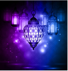 Intricate arabic lamps with lights vector