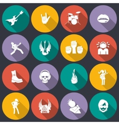 Rock music icons flat vector image