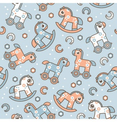 seamless pattern with cute horses vector image