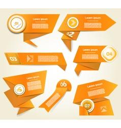 Set of orange progress version step icons eps 10 vector image vector image