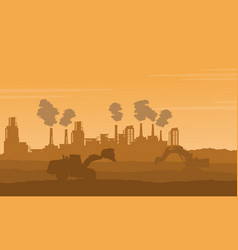 silhouette of industry with pollution bad vector image