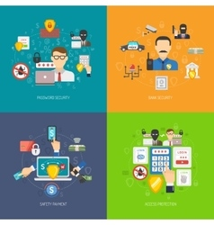 Bank security 4 flat icons banner vector image