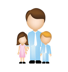 color silhouette faceless with father and children vector image