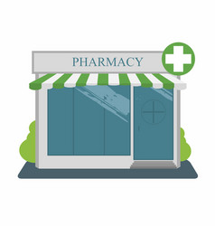 pharmacy street building facade vector image