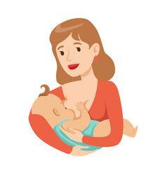 young mother breastfeeding her baby with breast vector image