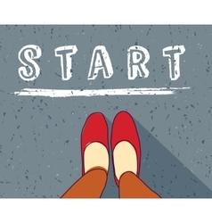 Young woman begin way start line new life vector image vector image