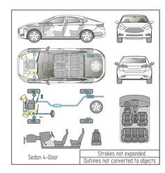 Car sedan interior parts engine seats dashboard vector