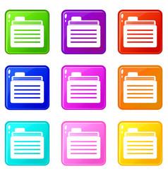 file folder set 9 vector image vector image
