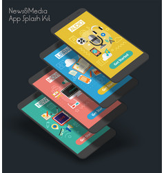 flat design responsive ui mobile app with 3d vector image vector image