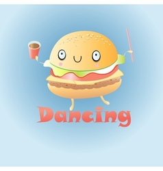 funny burger vector image vector image