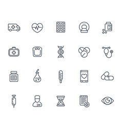 Medicine icons set in line style on white vector