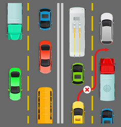 overtaking in dense traffic flow diagram vector image vector image