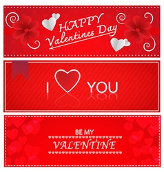 Red valentines greeting cards vector