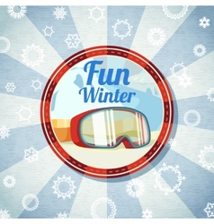 Badge with snowboarders or skiers goggles -Fun vector image