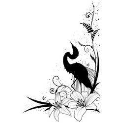 egret and lily vector image vector image